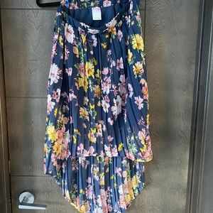 Pleated Blue Floral High Low Skirt